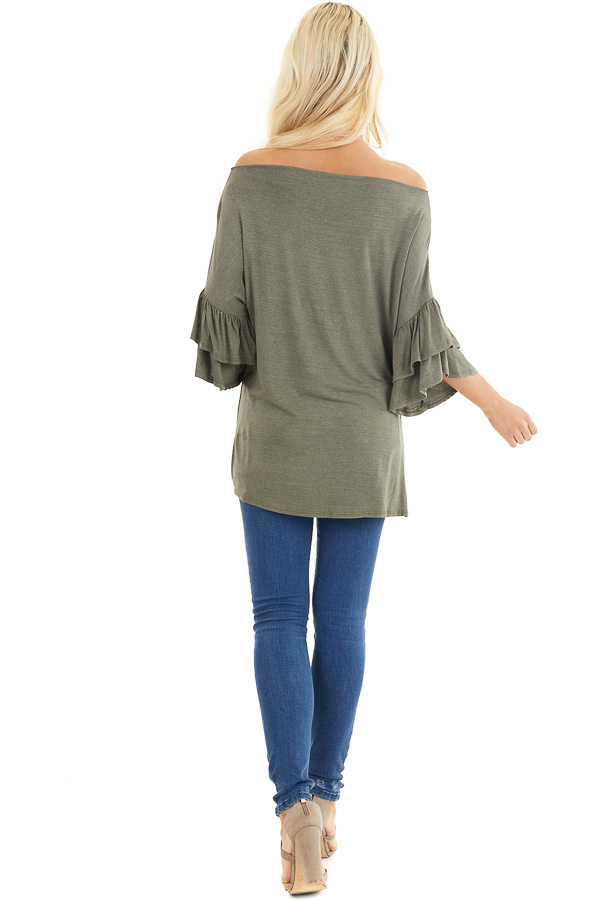 Olive Green Top With Ruffle Sleeves and Front Twist Detail back full body