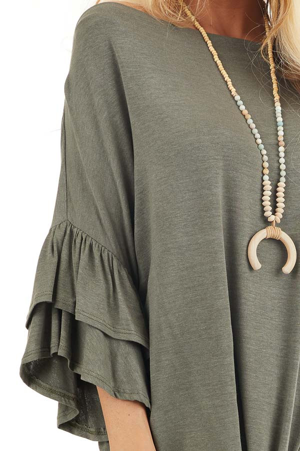 Olive Green Top With Ruffle Sleeves and Front Twist Detail detail