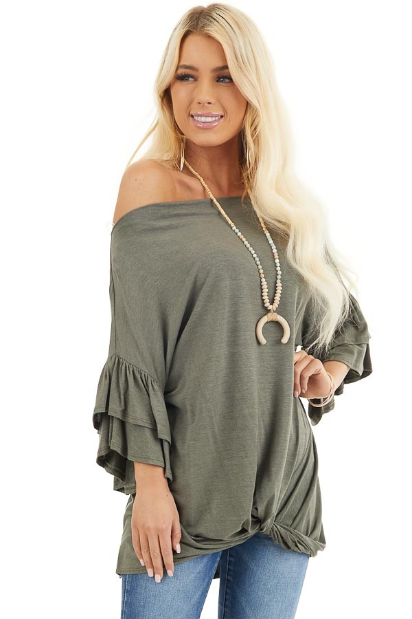 Olive Green Top With Ruffle Sleeves and Front Twist Detail front close up