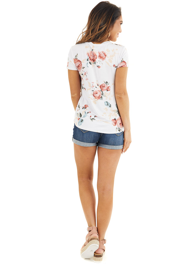 Ivory and Dusty Rose Floral Print Top with Short Sleeves back full body