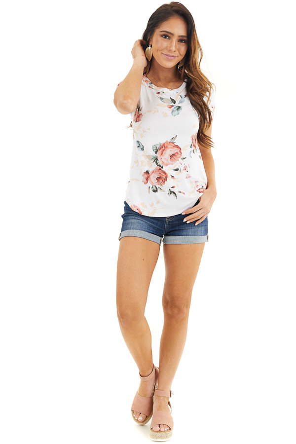 Ivory and Dusty Rose Floral Print Top with Short Sleeves front full body