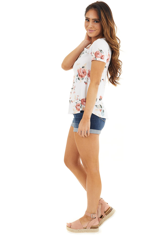 Ivory and Dusty Rose Floral Print Top with Short Sleeves side full body
