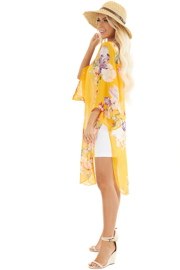 Amber Floral Print Lightweight Kimono with Side Slits side full body