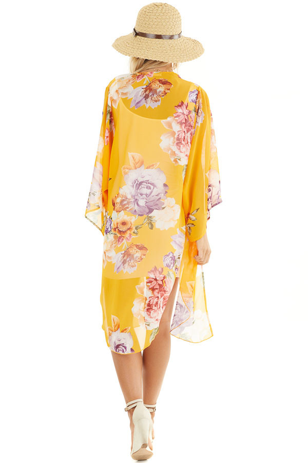 Amber Floral Print Lightweight Kimono with Side Slits back full body
