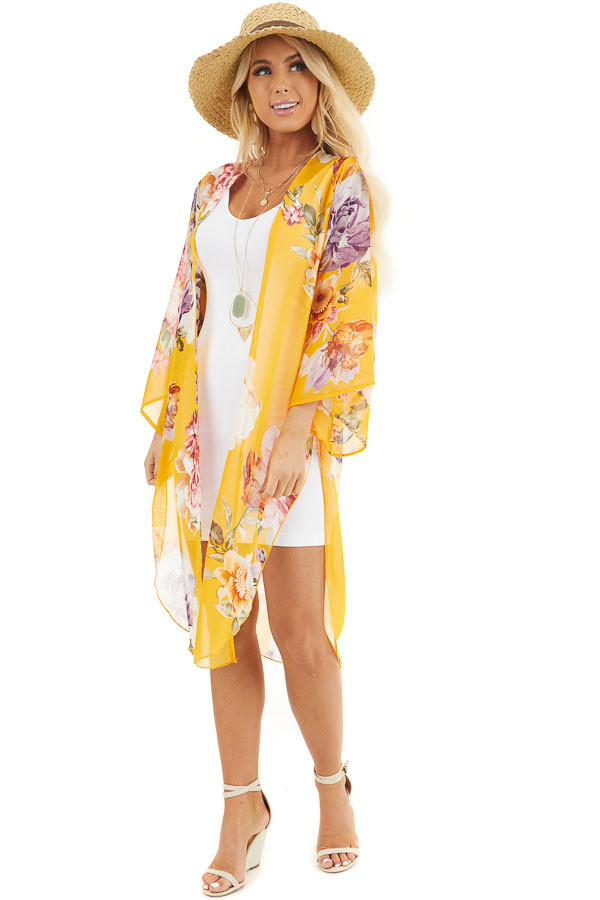 Amber Floral Print Lightweight Kimono with Side Slits front full body