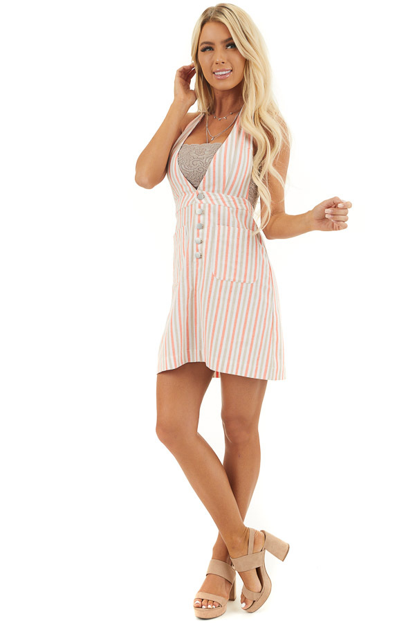 Coral and Latte Striped Overall Button Up Mini Dress front full body