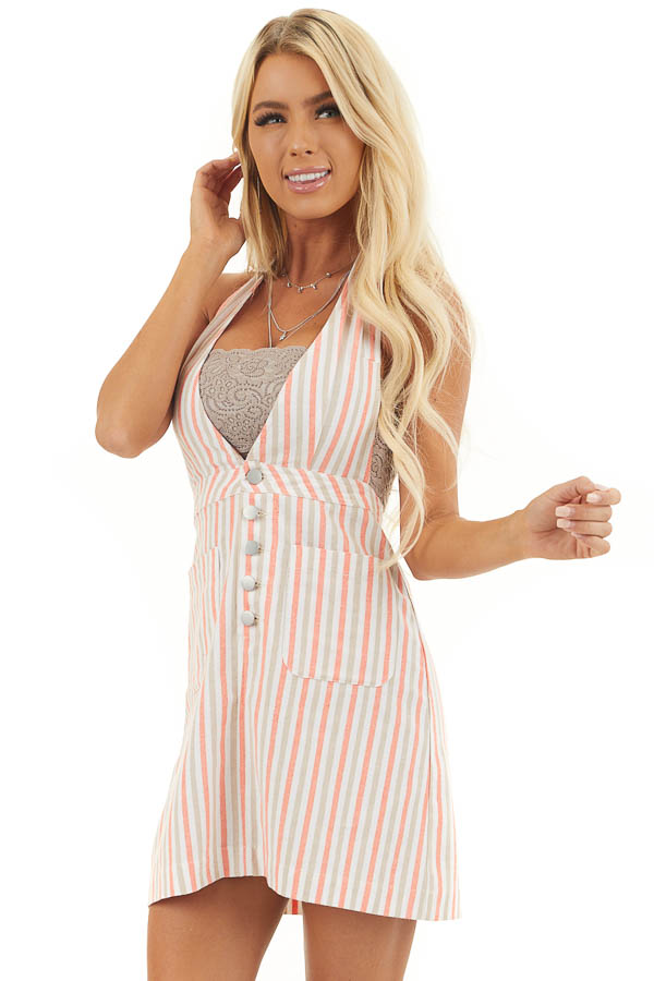 Coral and Latte Striped Overall Button Up Mini Dress front close up