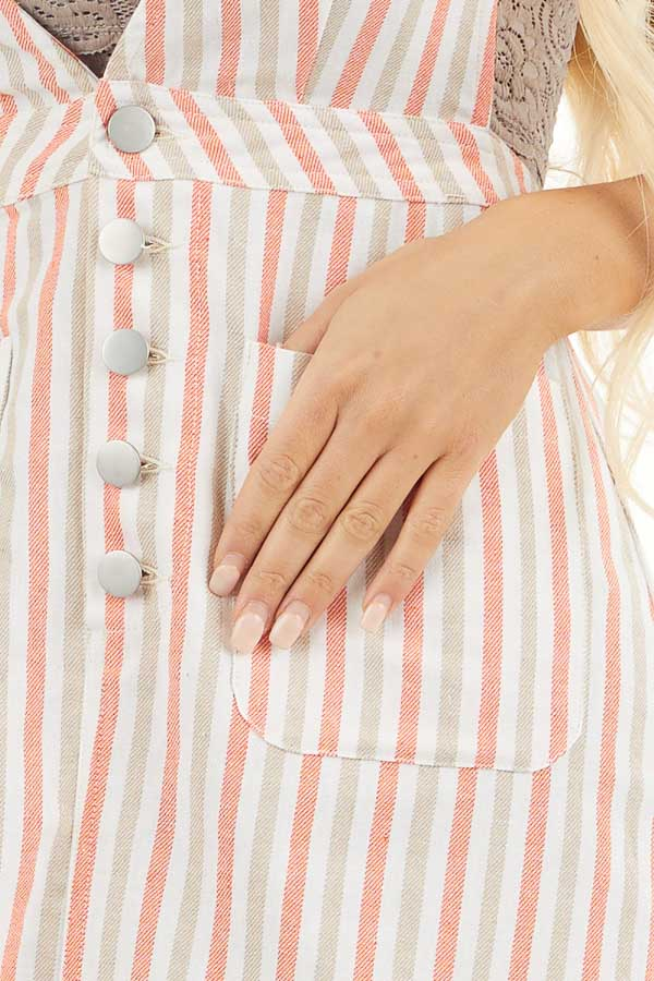 Coral and Latte Striped Overall Button Up Mini Dress detail