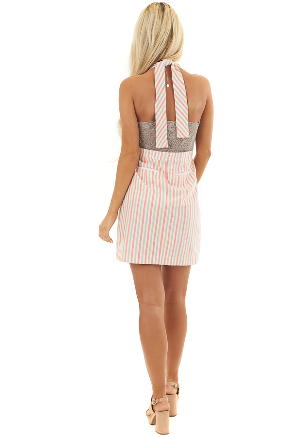 Coral and Latte Striped Overall Button Up Mini Dress back full body