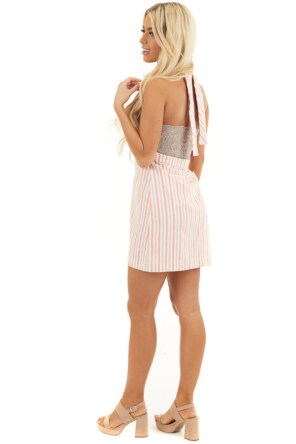Coral and Latte Striped Overall Button Up Mini Dress side full body