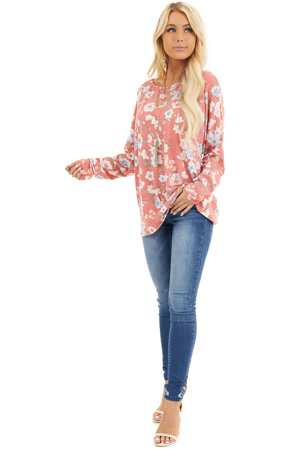 Faded Coral Floral Long Sleeve Top with Back Twist Detail front full body