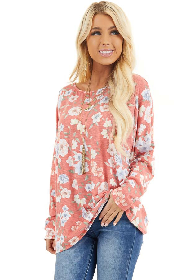 Faded Coral Floral Long Sleeve Top with Back Twist Detail front close up