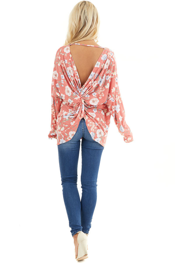 Faded Coral Floral Long Sleeve Top with Back Twist Detail back full body