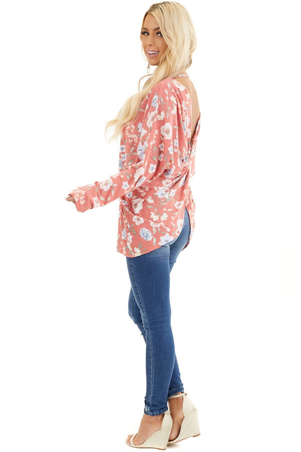 Faded Coral Floral Long Sleeve Top with Back Twist Detail side full body