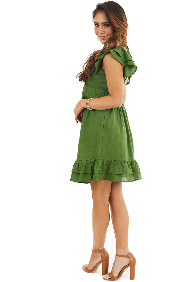 Moss Green Plunged V Neck Mini Dress with Ruffle Sleeves side full body