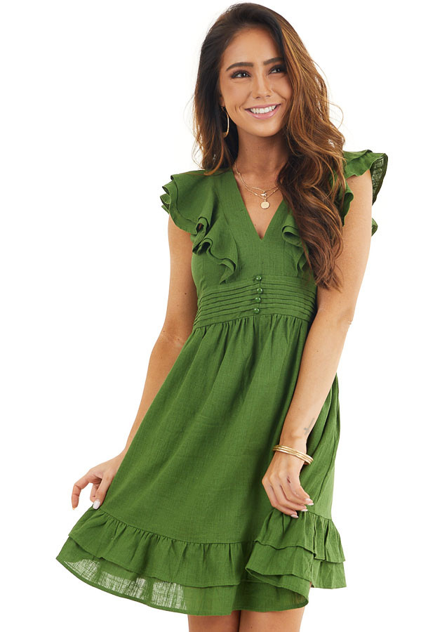 Moss Green Plunged V Neck Mini Dress with Ruffle Sleeves front close up