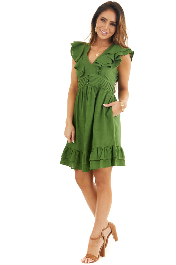 Moss Green Plunged V Neck Mini Dress with Ruffle Sleeves front full body