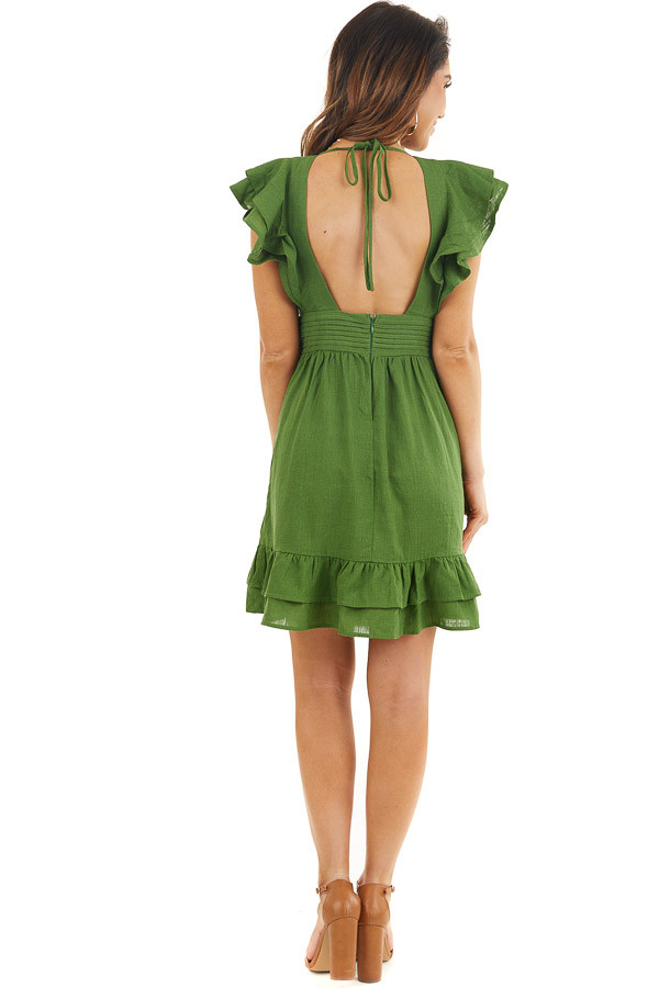 Moss Green Plunged V Neck Mini Dress with Ruffle Sleeves back full body