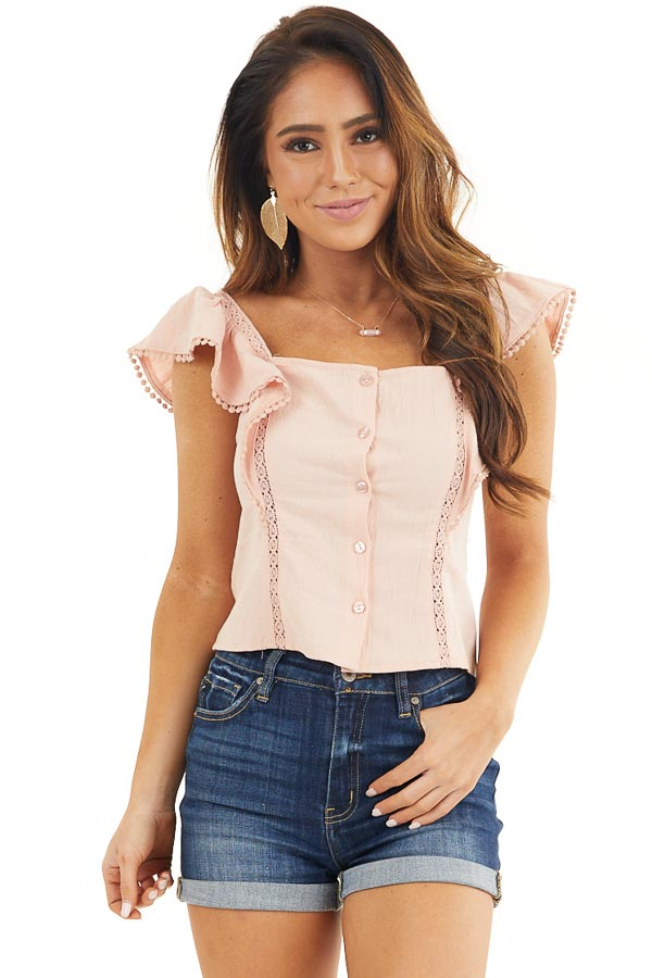 Blush Button Up Top with Ruffle Sleeves and Lace Details front close up
