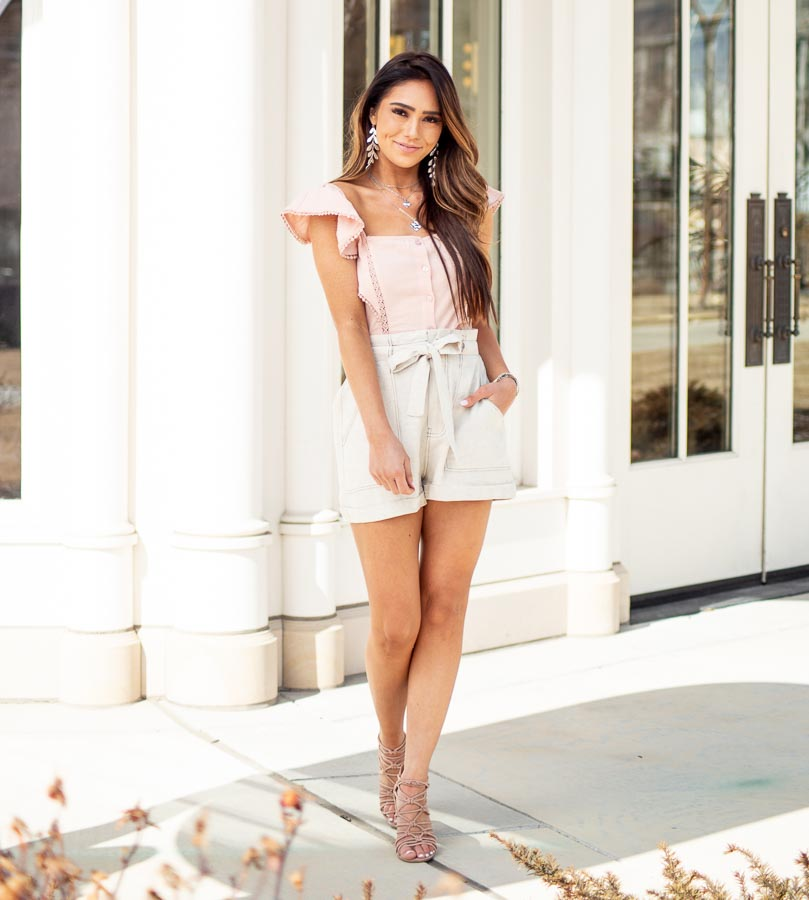 Blush Button Up Top with Ruffle Sleeves and Lace Details