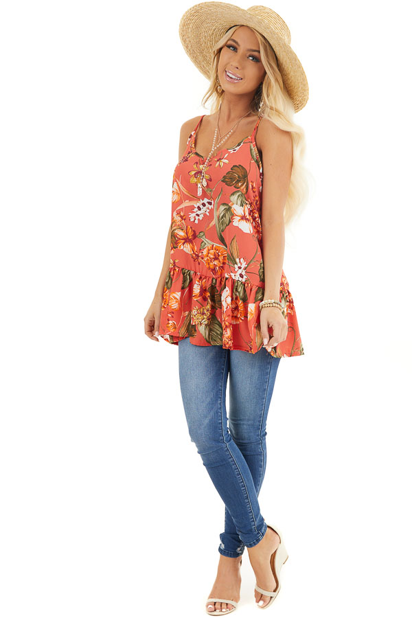 Terracotta Floral Print Peplum Tank Top with V Neckline front full body