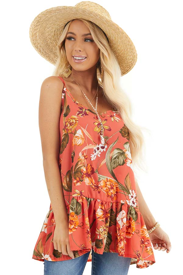 Terracotta Floral Print Peplum Tank Top with V Neckline front close up