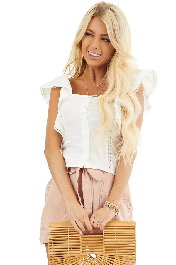 White Button Up Top with Ruffle Sleeves and Lace Details front close up