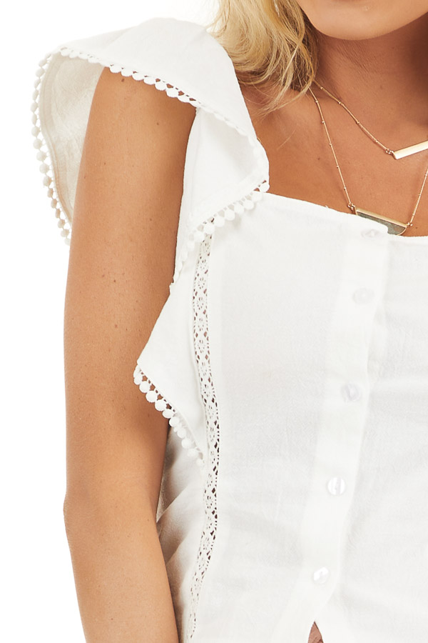 White Button Up Top with Ruffle Sleeves and Lace Details detail