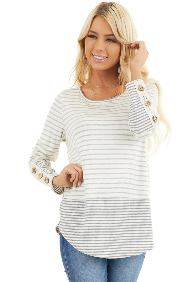 Ivory and Heather Grey Striped Top with Crochet Lace Details front close up