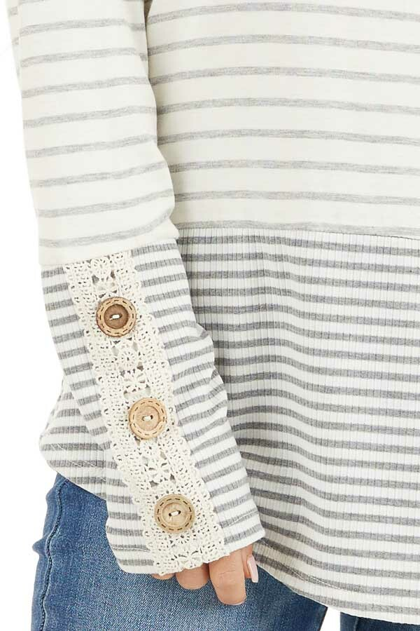 Ivory and Heather Grey Striped Top with Crochet Lace Details detail