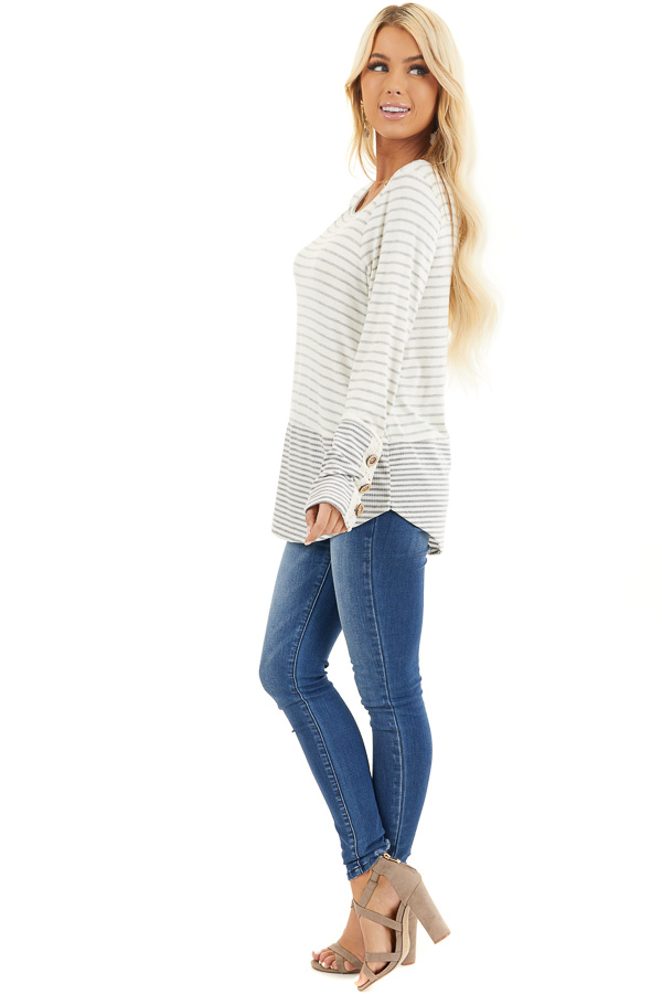 Ivory and Heather Grey Striped Top with Crochet Lace Details side full body