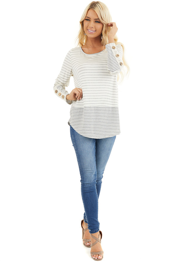 Ivory and Heather Grey Striped Top with Crochet Lace Details front full body