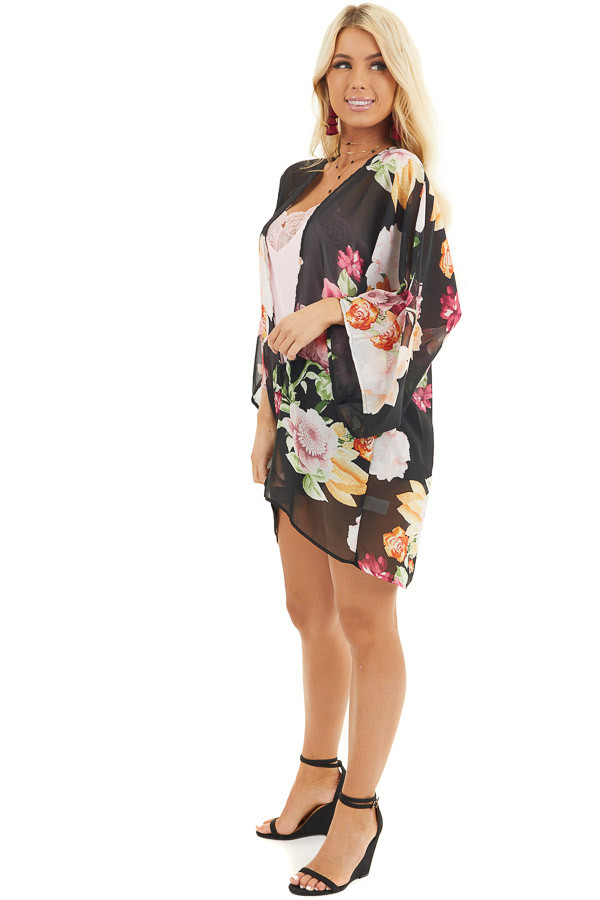 Black Floral Print Long Sleeve Kimono with Open Front side full body