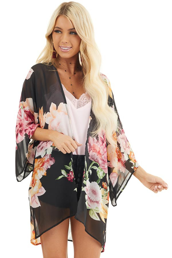 Black Floral Print Long Sleeve Kimono with Open Front front close up