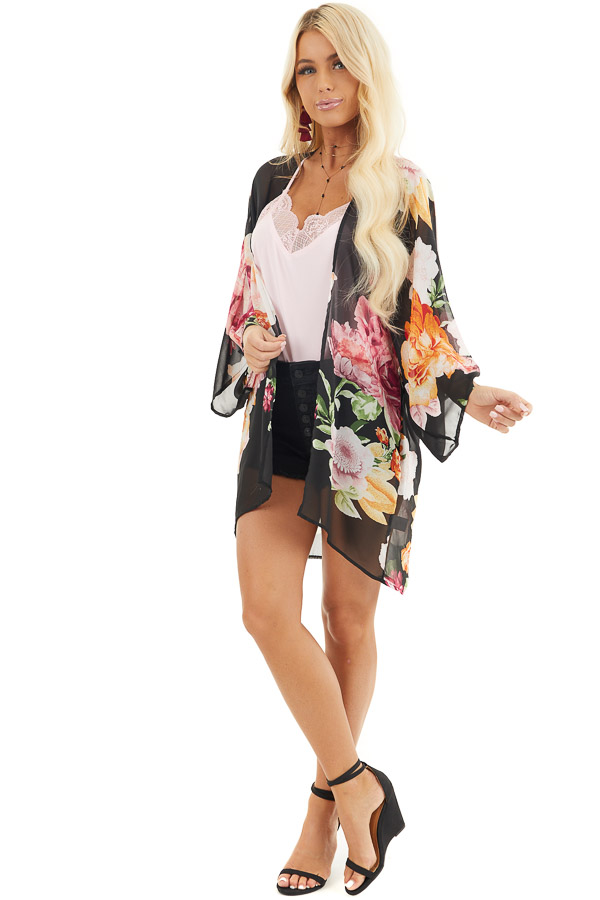 Black Floral Print Long Sleeve Kimono with Open Front front full body