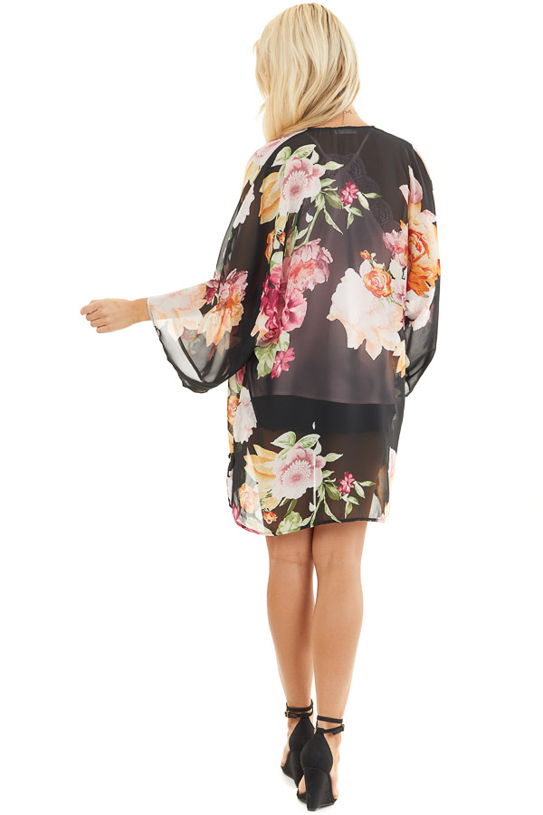 Black Floral Print Long Sleeve Kimono with Open Front back full body