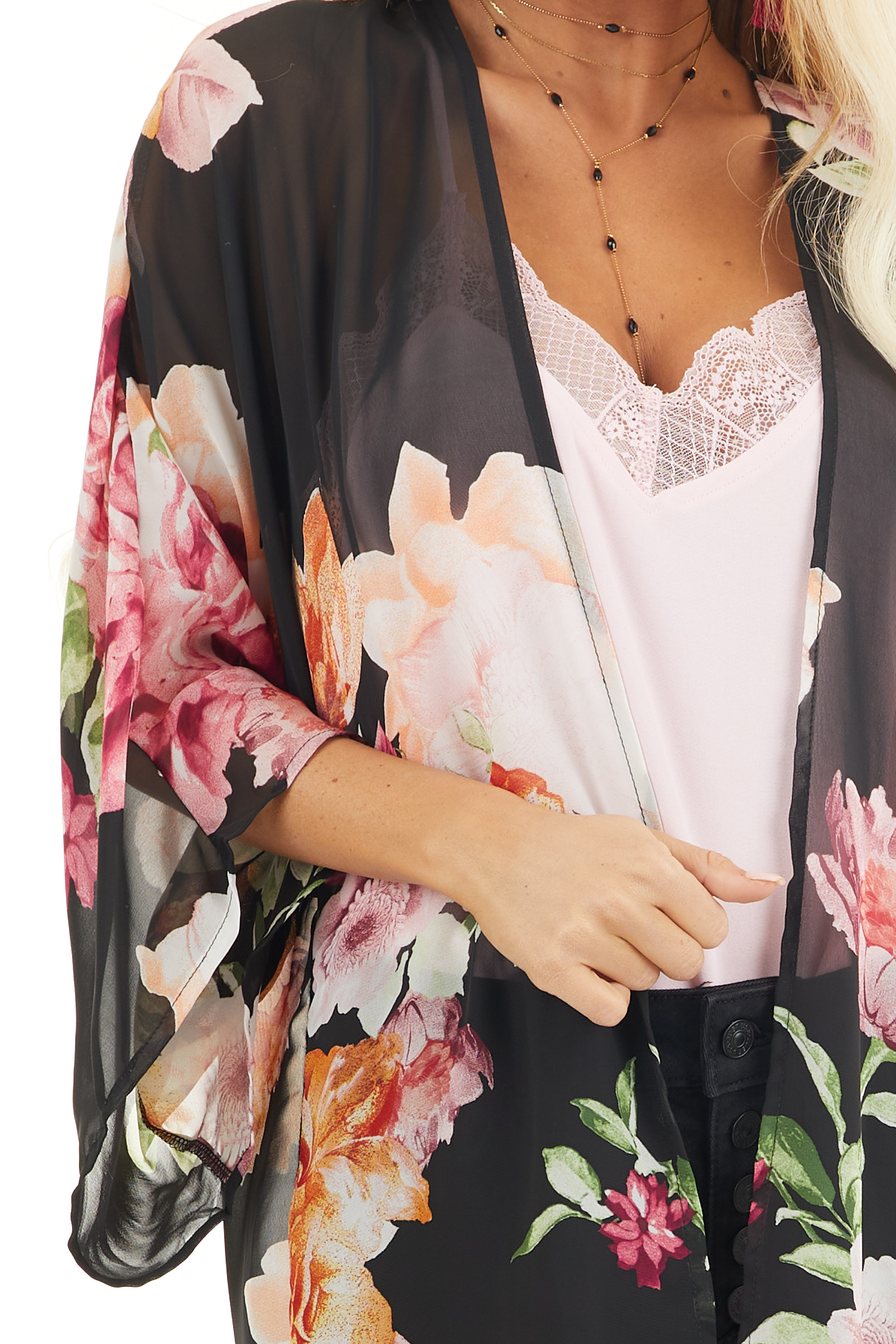 Black Floral Print Long Sleeve Kimono with Open Front detail