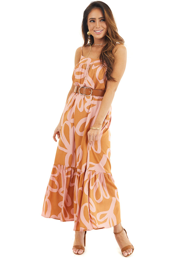 Rust and Blush Printed Maxi Dress with Spaghetti Straps front full body