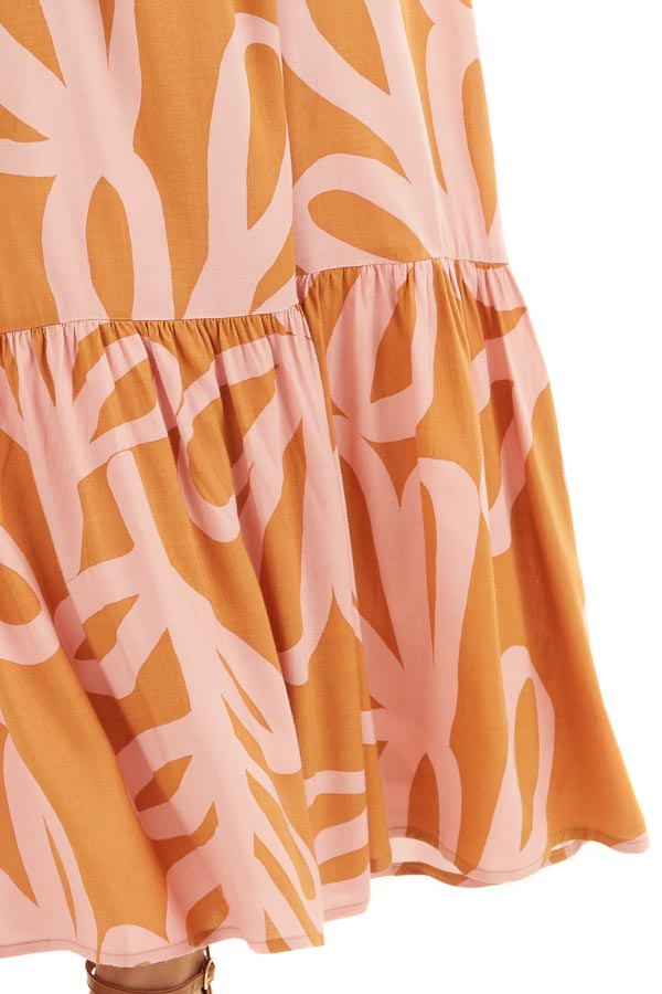 Rust and Blush Printed Maxi Dress with Spaghetti Straps detail