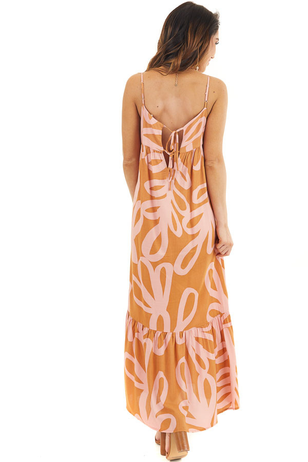 Rust and Blush Printed Maxi Dress with Spaghetti Straps back full body