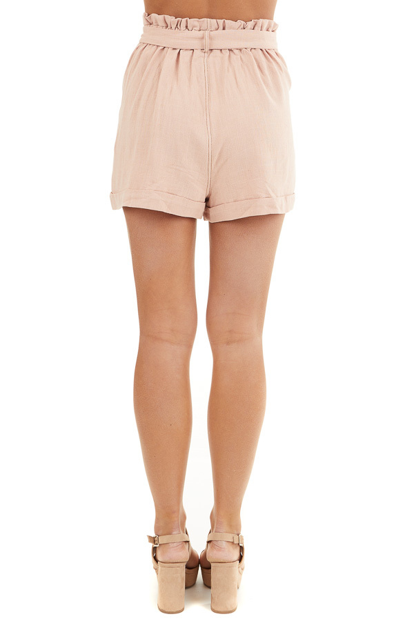 Dusty Blush High Waisted Paper Bag Shorts with Waist Tie back view