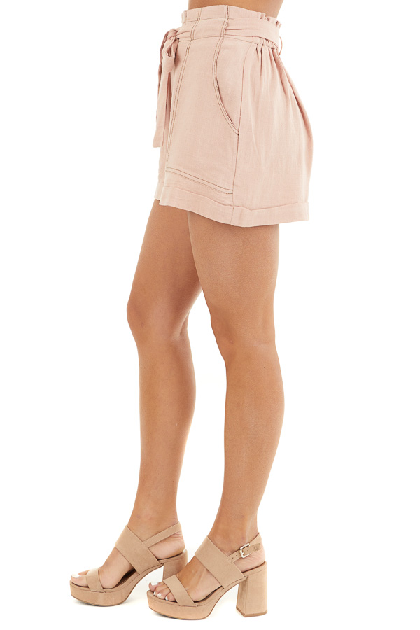 Dusty Blush High Waisted Paper Bag Shorts with Waist Tie side view