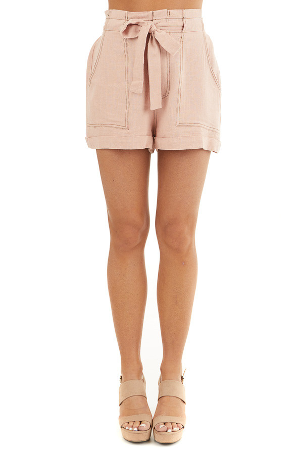 Dusty Blush High Waisted Paper Bag Shorts with Waist Tie front view