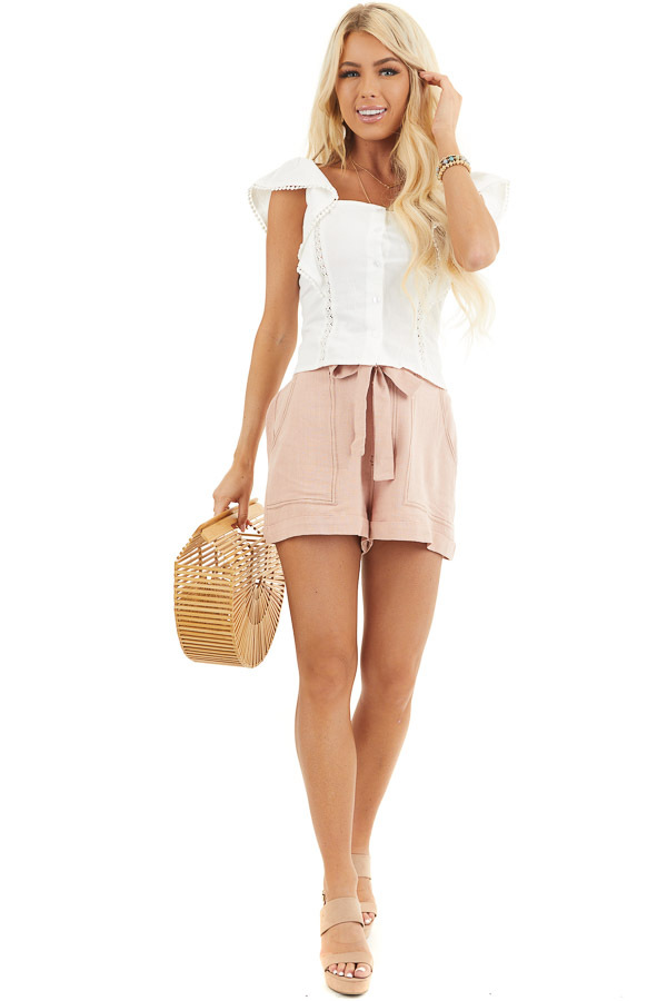 Dusty Blush High Waisted Paper Bag Shorts with Waist Tie front full body