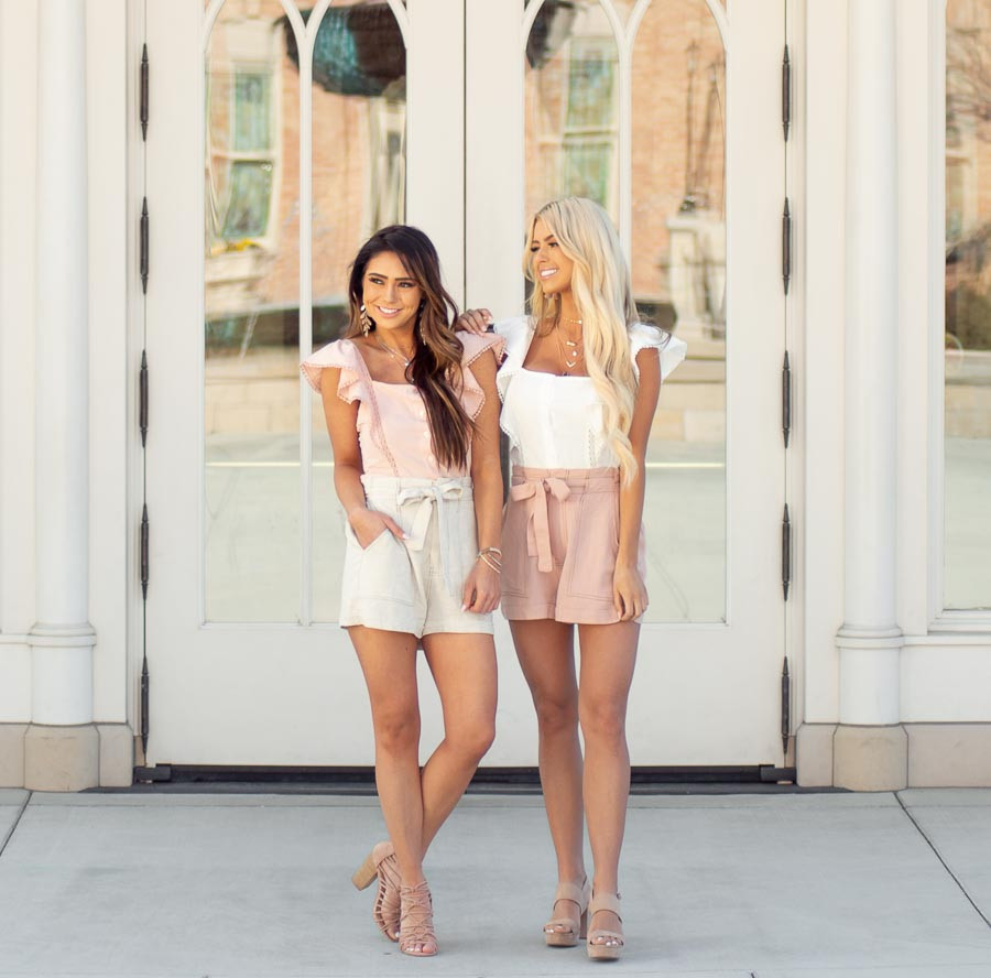 Dusty Blush High Waisted Paper Bag Shorts with Waist Tie