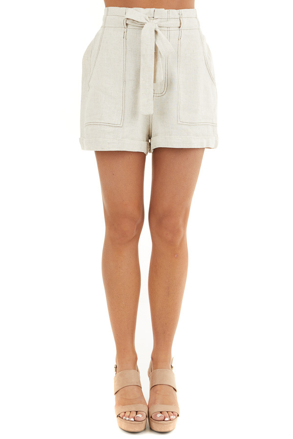 Oatmeal High Waisted Paper Bag Shorts with Waist Tie front view