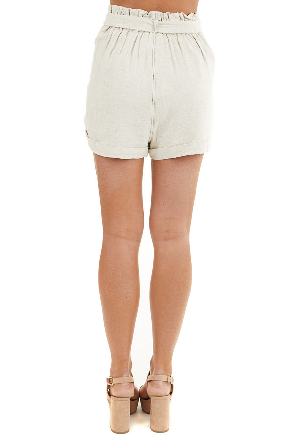 Oatmeal High Waisted Paper Bag Shorts with Waist Tie back view
