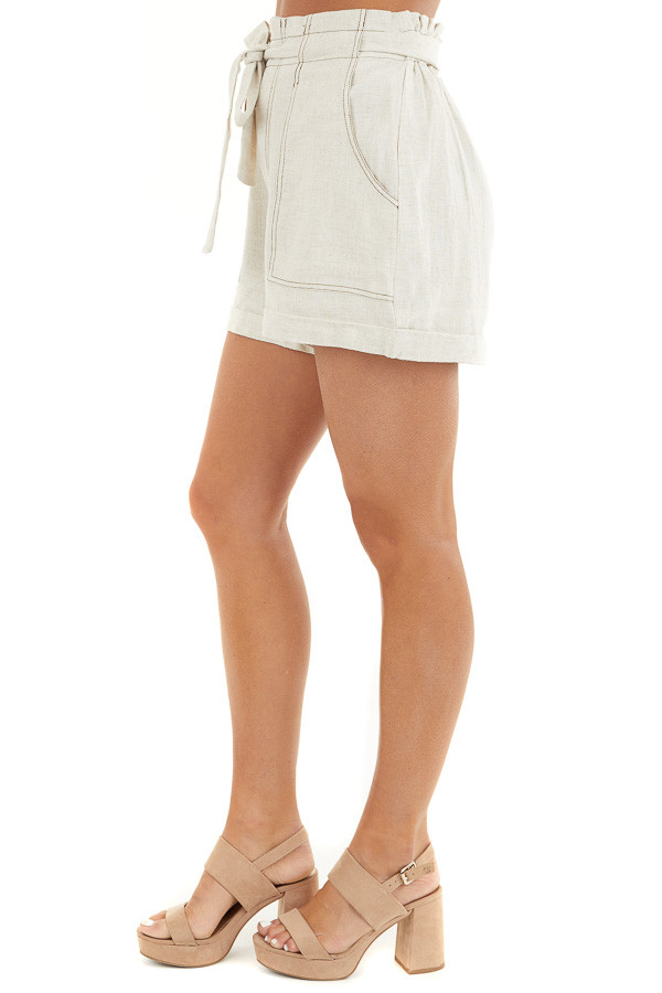 Oatmeal High Waisted Paper Bag Shorts with Waist Tie side view