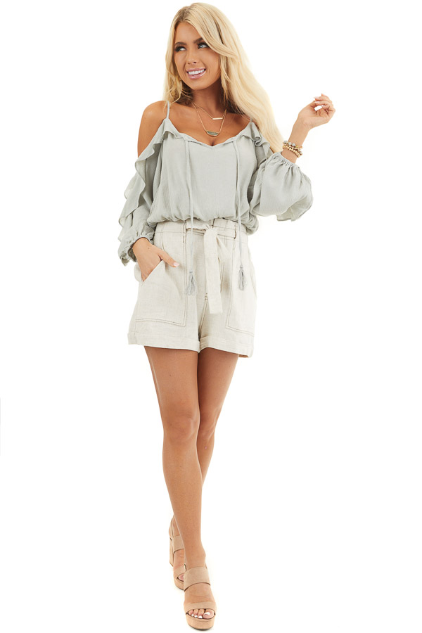 Oatmeal High Waisted Paper Bag Shorts with Waist Tie front full body