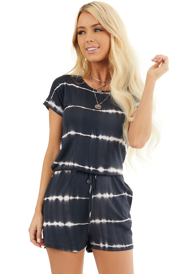 Black Tie Dye Knit Romper with Back Keyhole Detail front close up